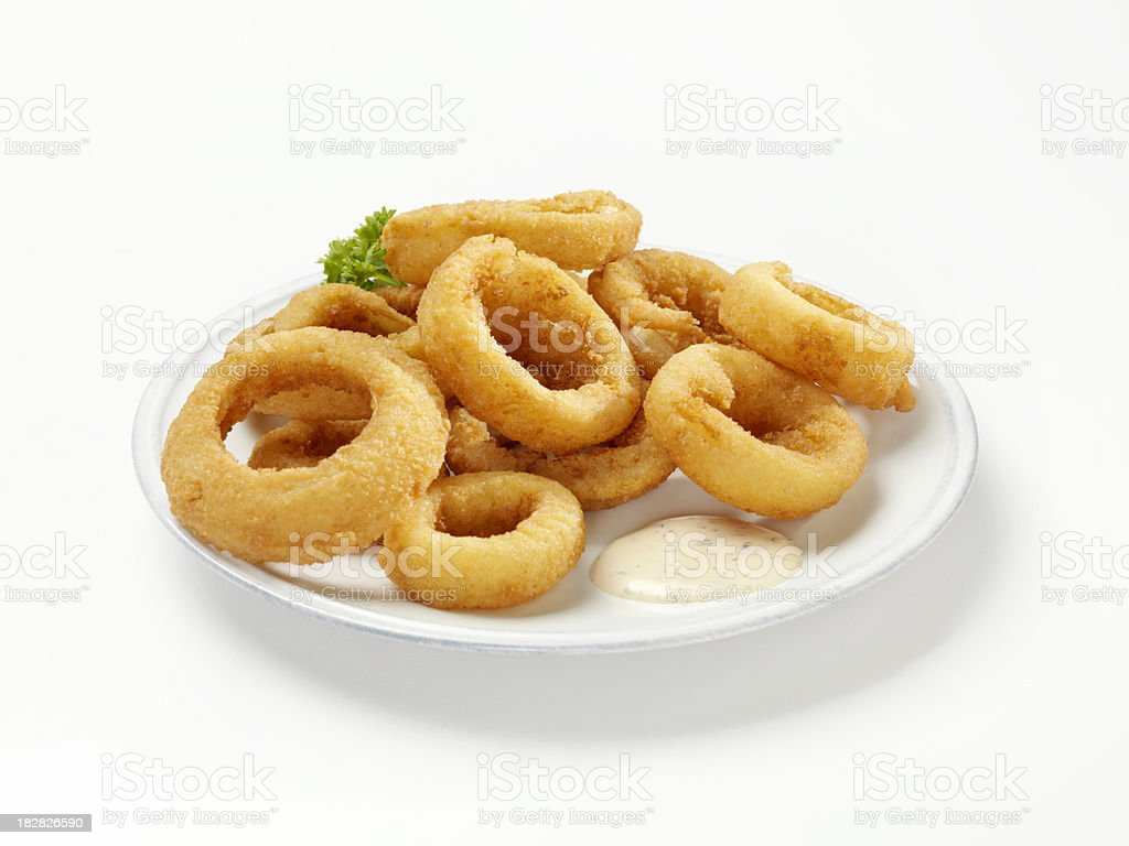 Thick Cut Onion Rings with Dip royalty-free stock photo