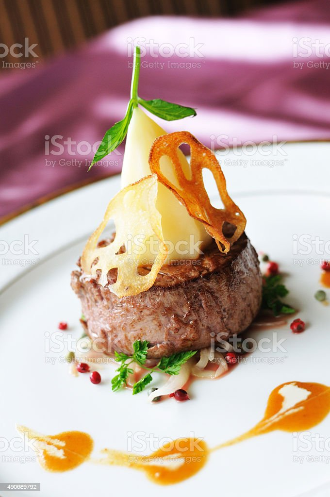 Thick filet mignon. stock photo