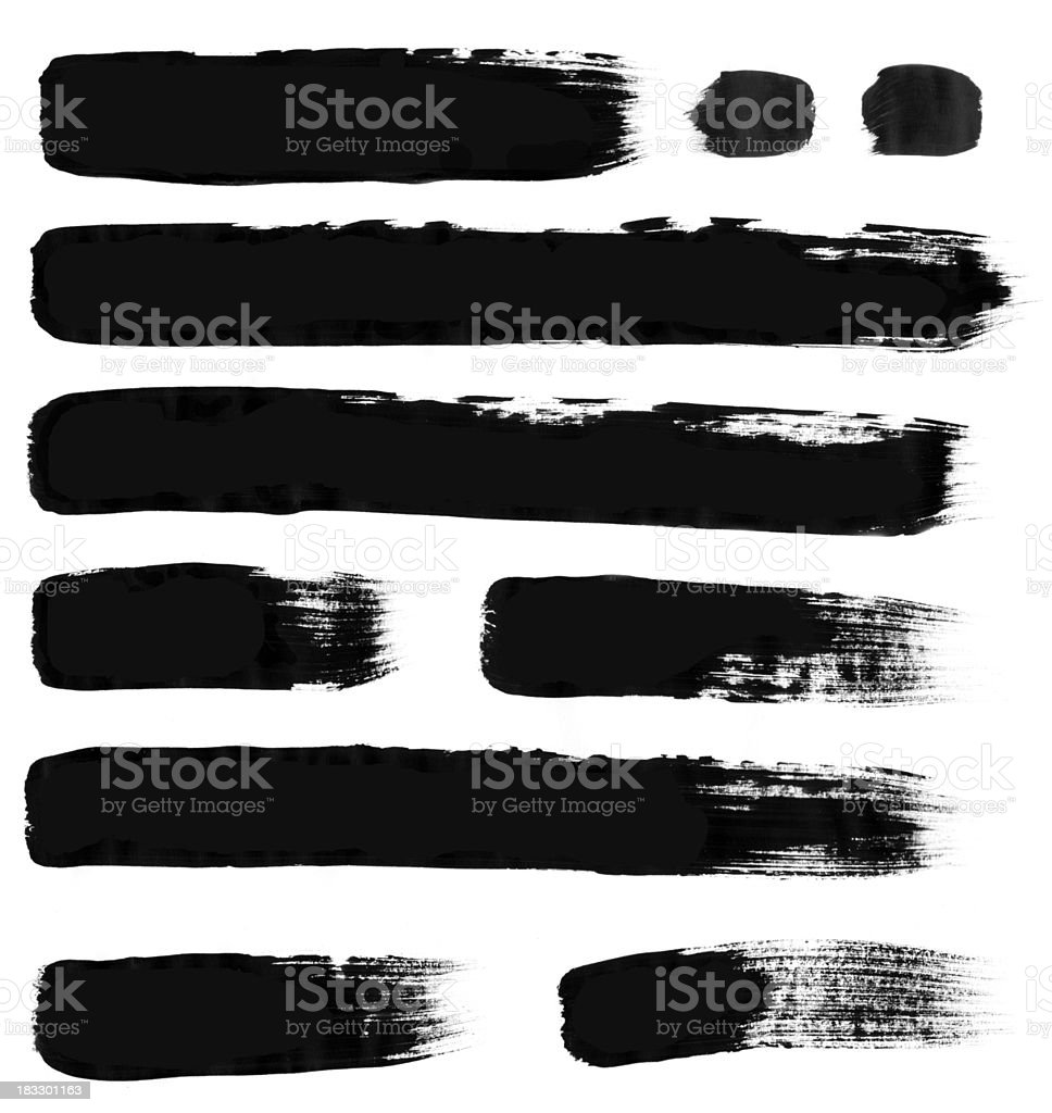 Thick horizontal brush strokes on white stock photo