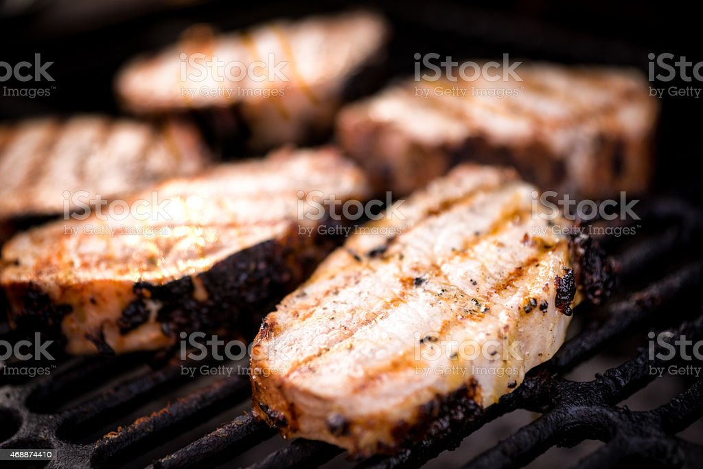 Thick Juicy Grilled Pork Chops stock photo