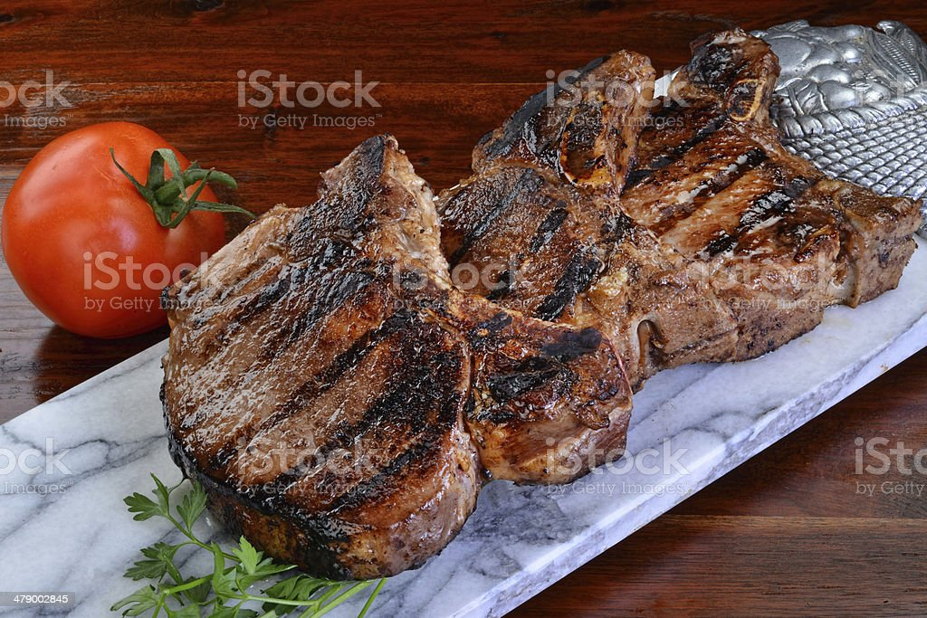 Thick Pork Chops. stock photo