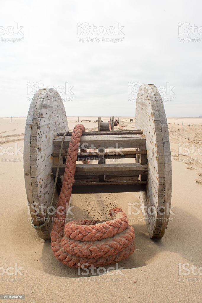 Thick Rope on Wooden Toll stock photo