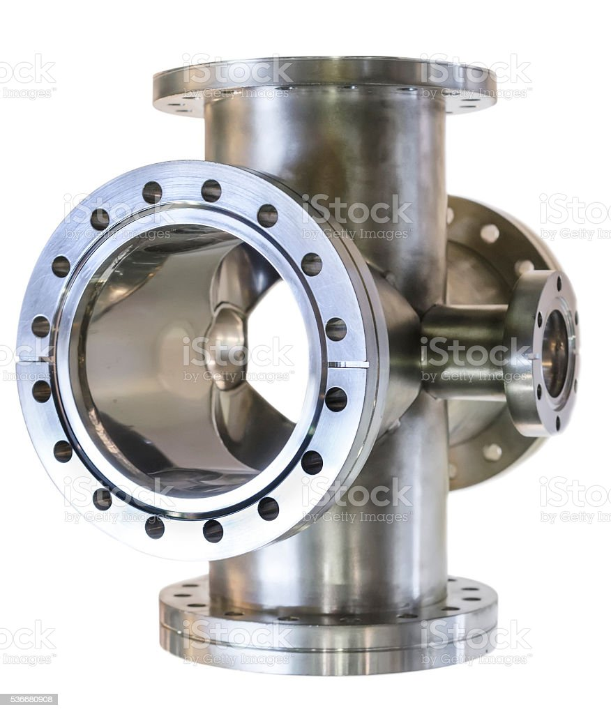 Thick-walled metal tee stainless steel pipe. stock photo