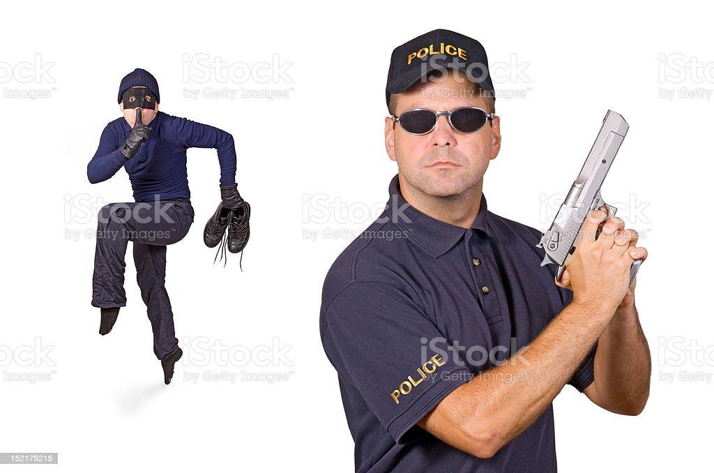 thief and policeman stock photo