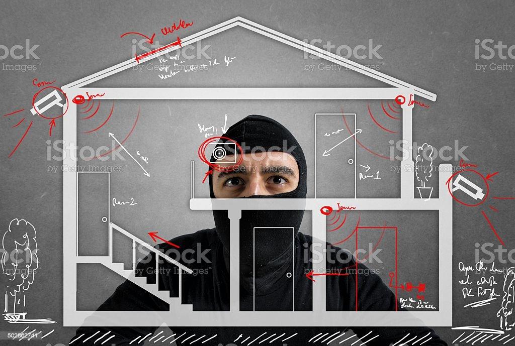Thief apartment stock photo