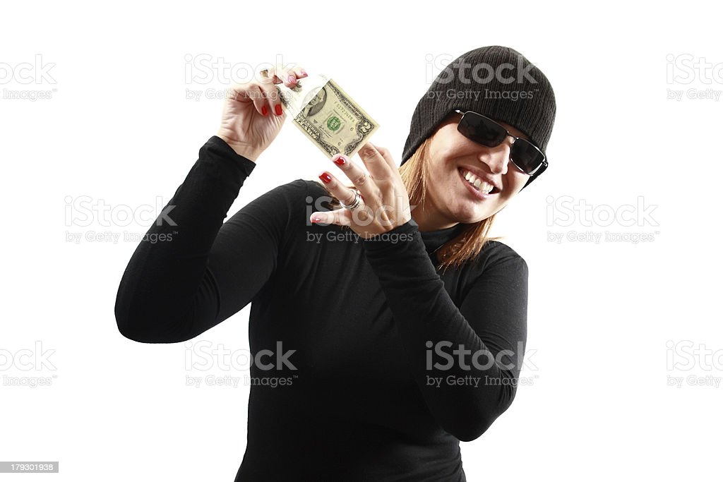 Thief holding money royalty-free stock photo