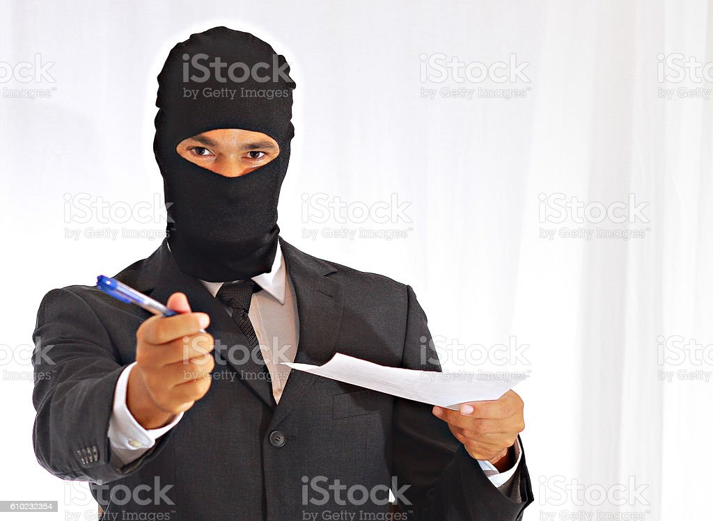 thief in bank stock photo