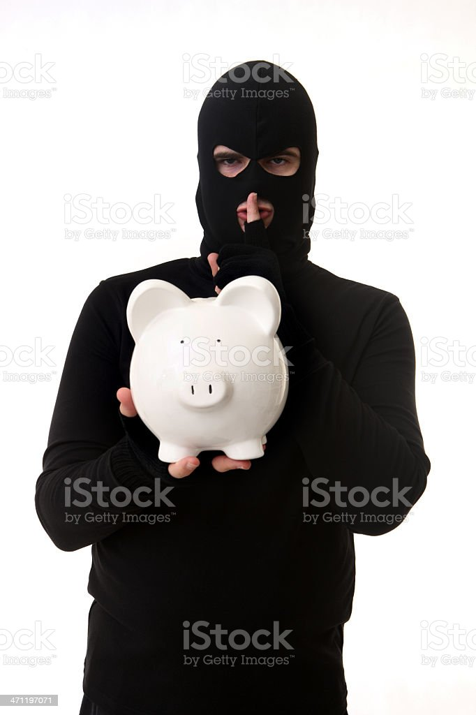 Thief with Piggybank royalty-free stock photo