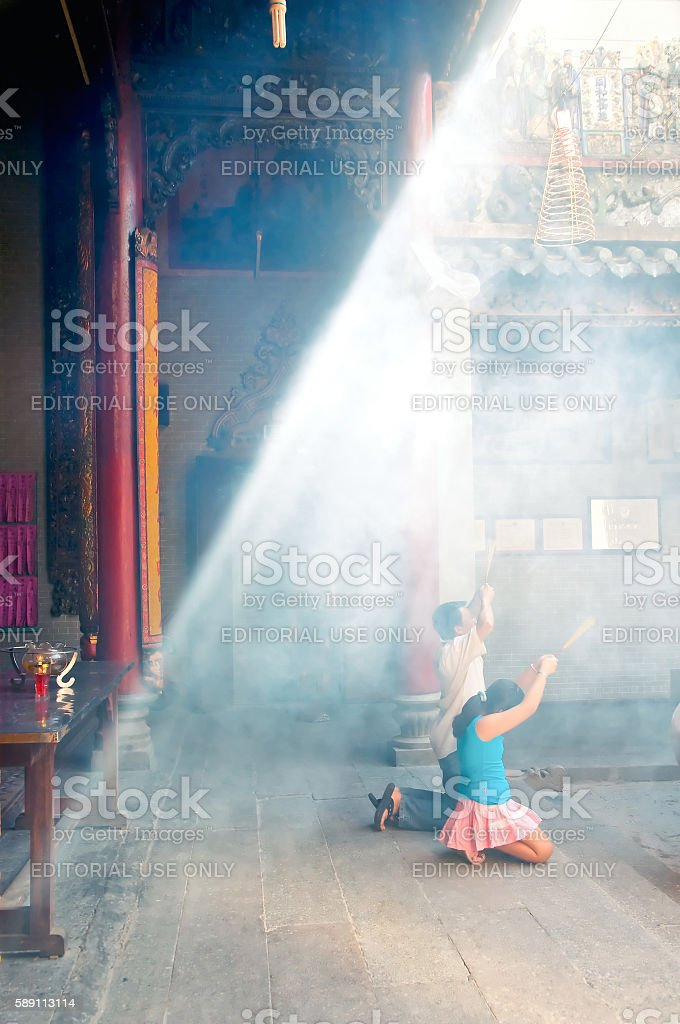 Thien Hau Pagoda, Cholon (China Town), Ho Chi Minh, Vietnam. stock photo