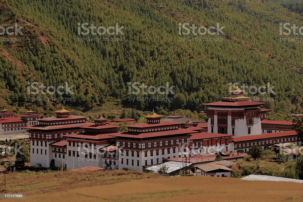 Thimphu Dzong - government and monastry building = HDR stock photo