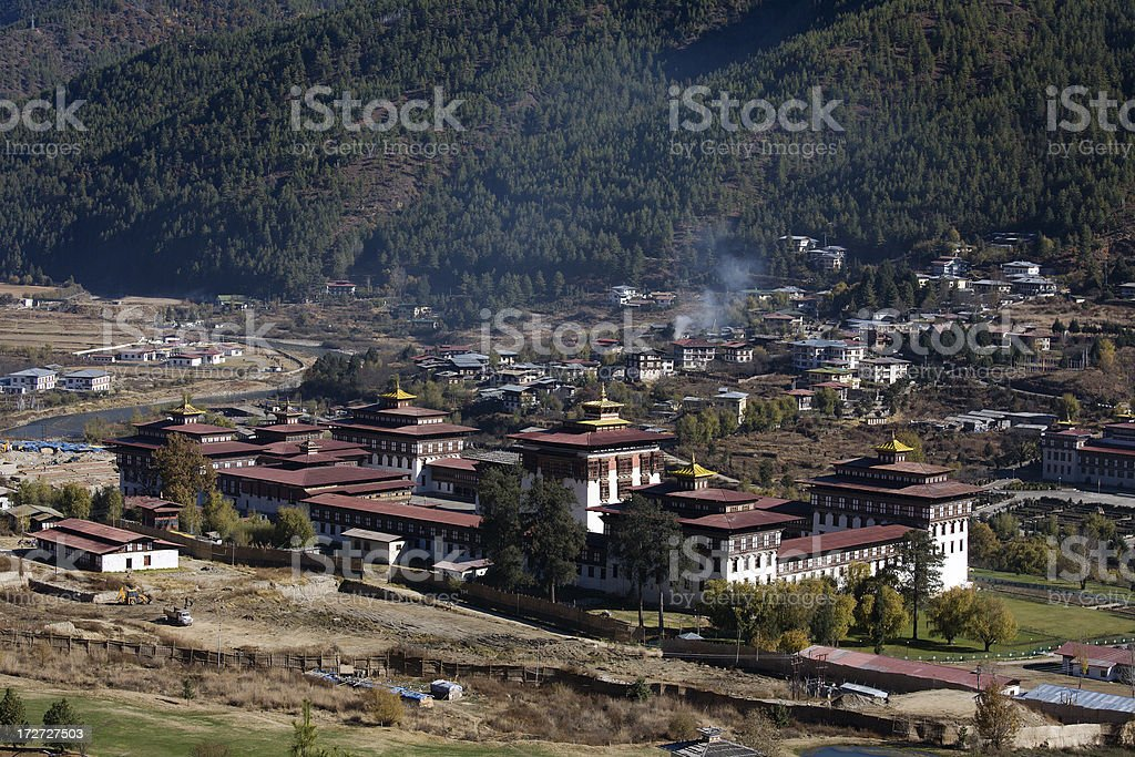 Thimphu Dzong in Bhutan stock photo
