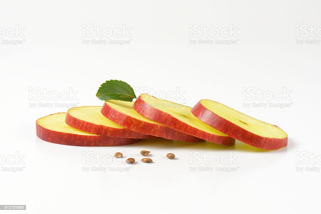 thin apple slices stock photo