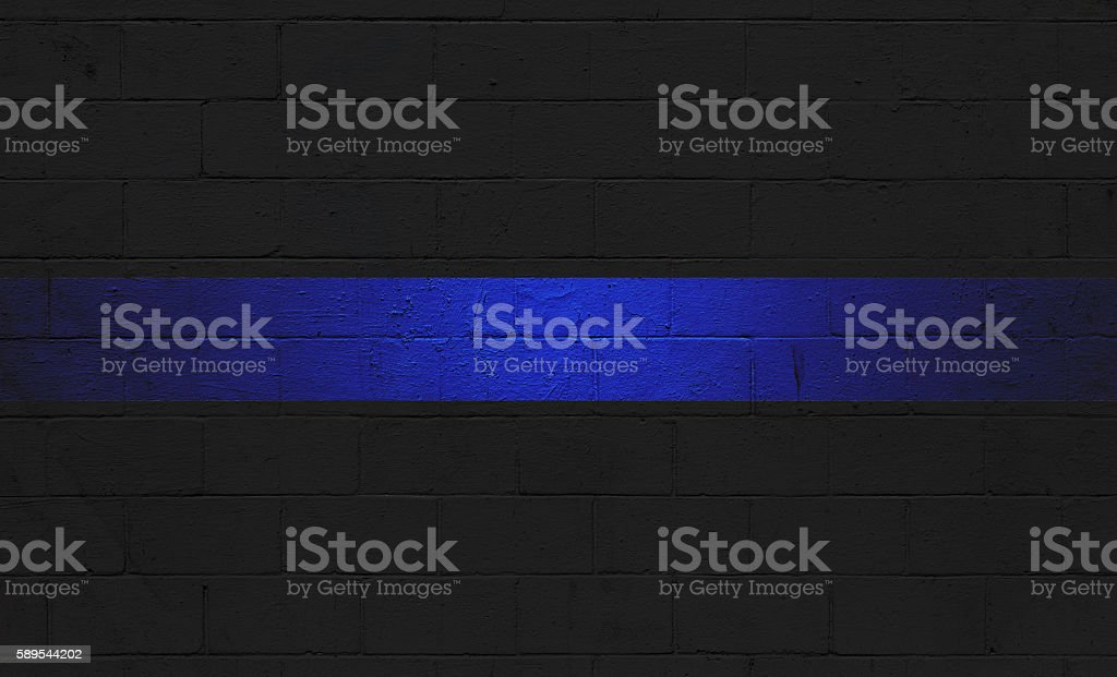 Thin Blue Line Flag painted on a wall stock photo