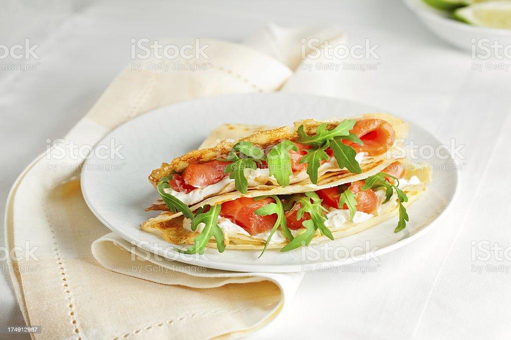 Thin Crepes Stuffed with Smoked Salmon stock photo