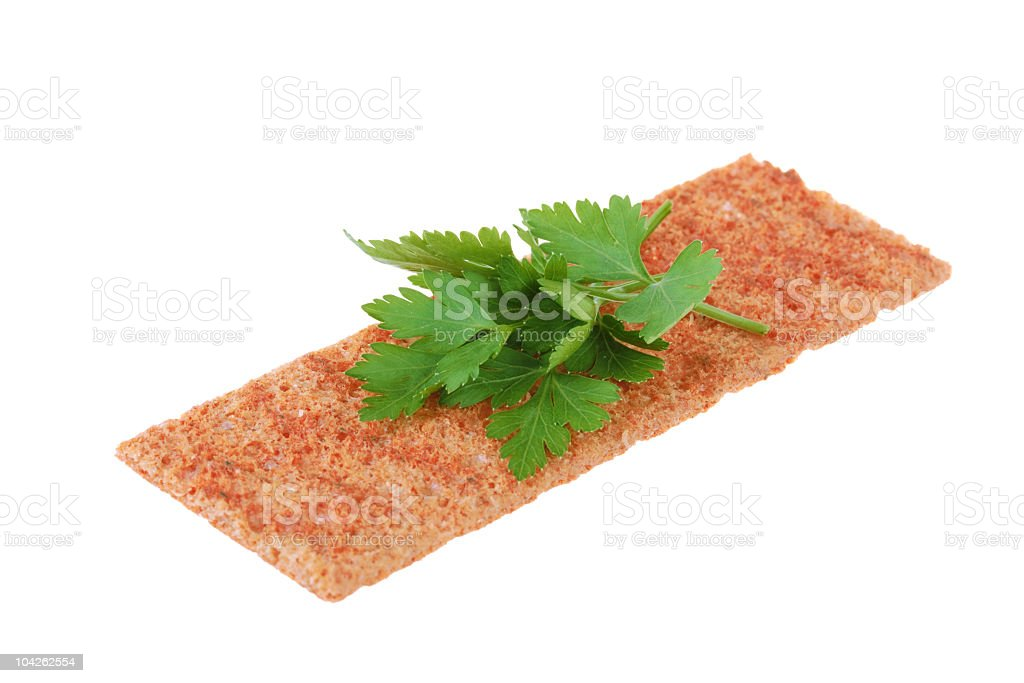 Thin crispbread with parsley stock photo