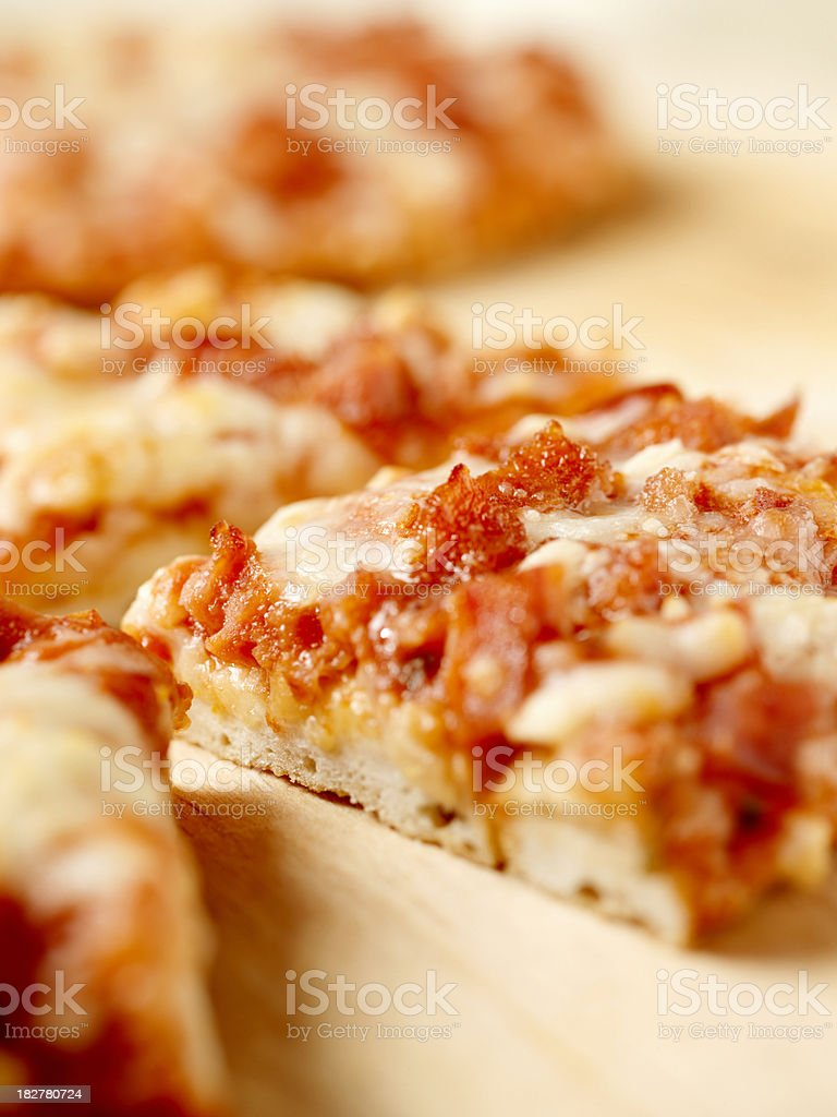 Thin Crust Pepperoni Pizza royalty-free stock photo