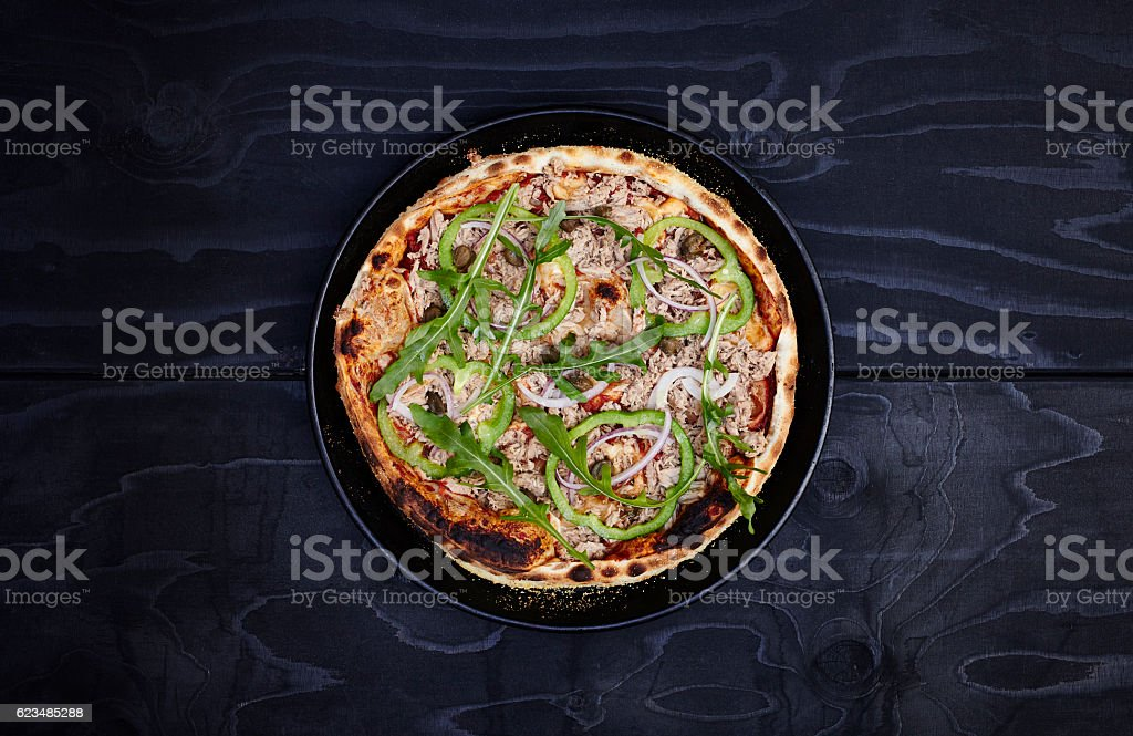 Thin crust pizza - Italian Leggera stock photo