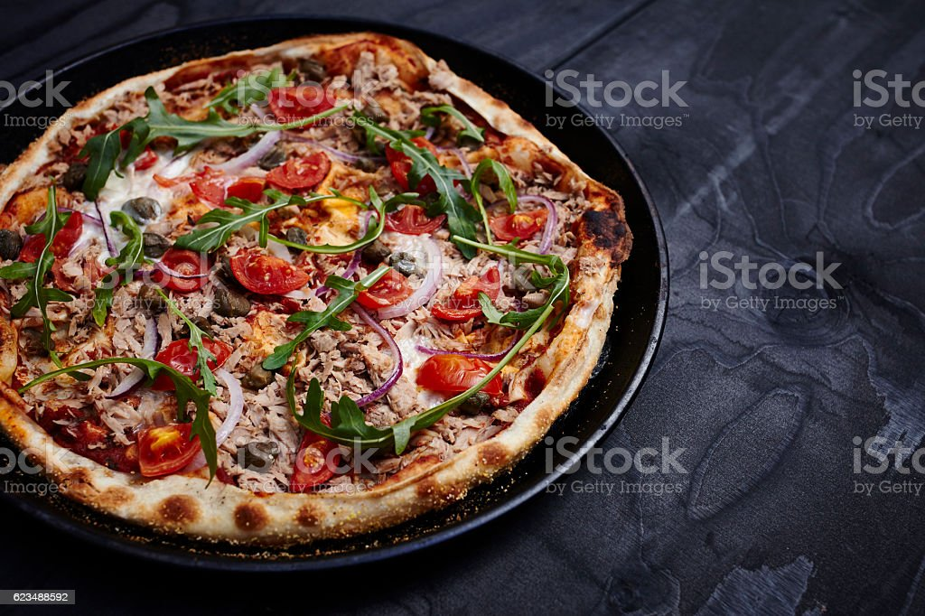 Thin crust pizza - Italian Leggera stock photo