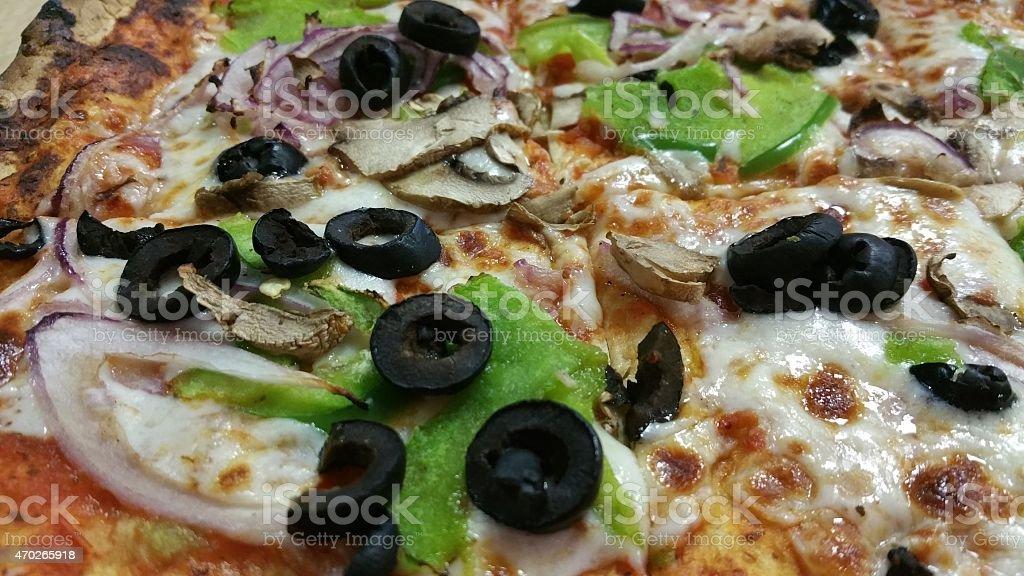Thin crust veggie pizza stock photo