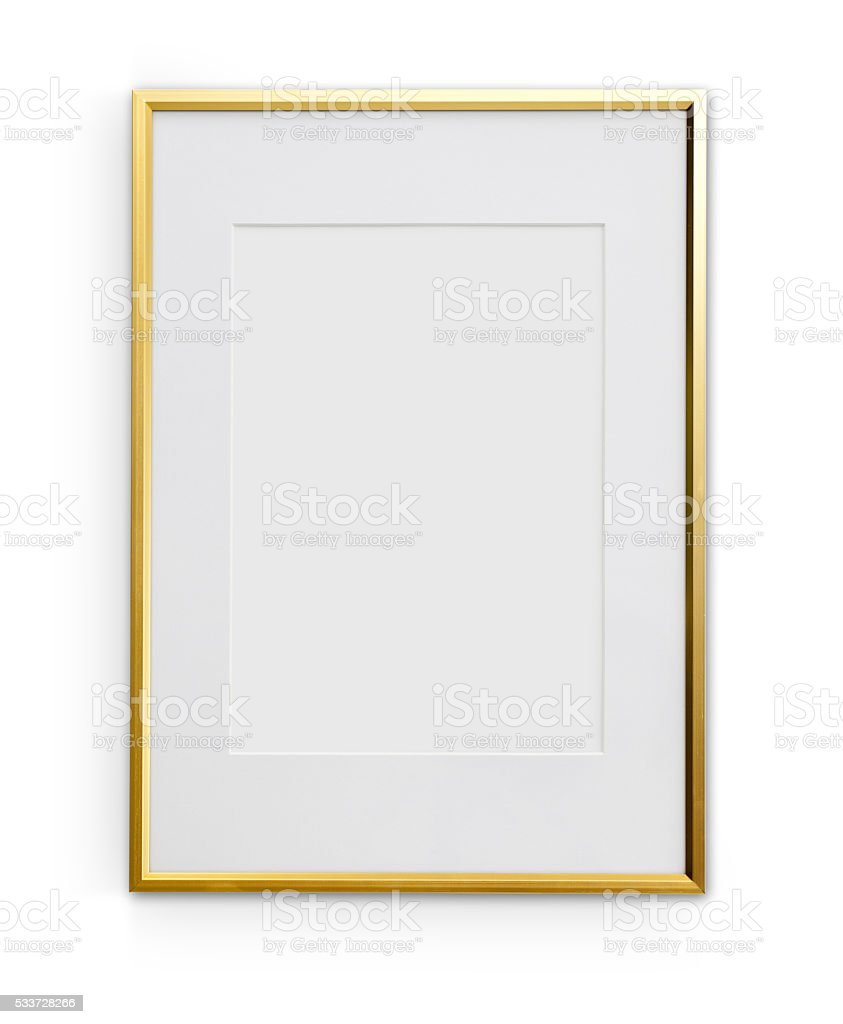 Thin Golden Frame With Clipping Path stock photo