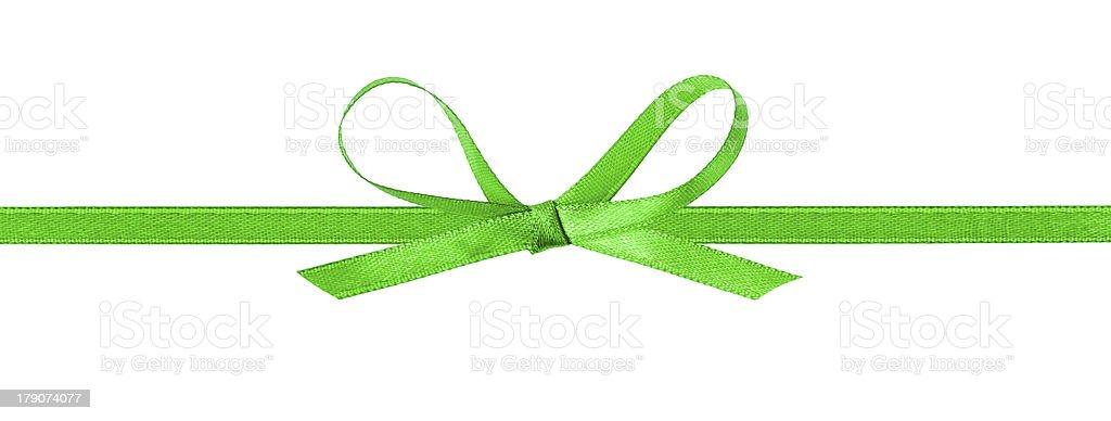 thin green bow with horizontal ribbon royalty-free stock photo