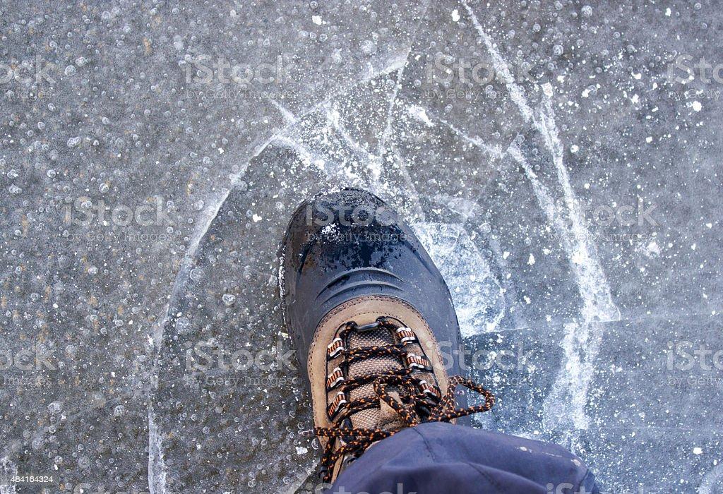 Thin ice cracked stock photo