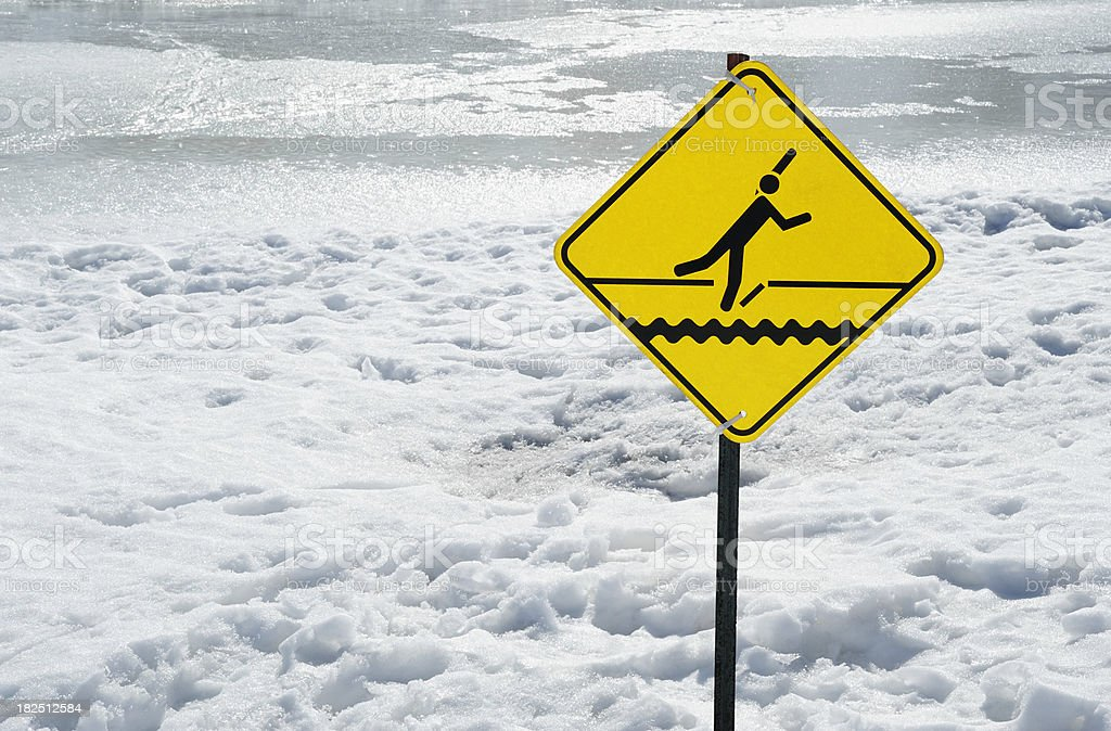 Thin ice warning sign royalty-free stock photo