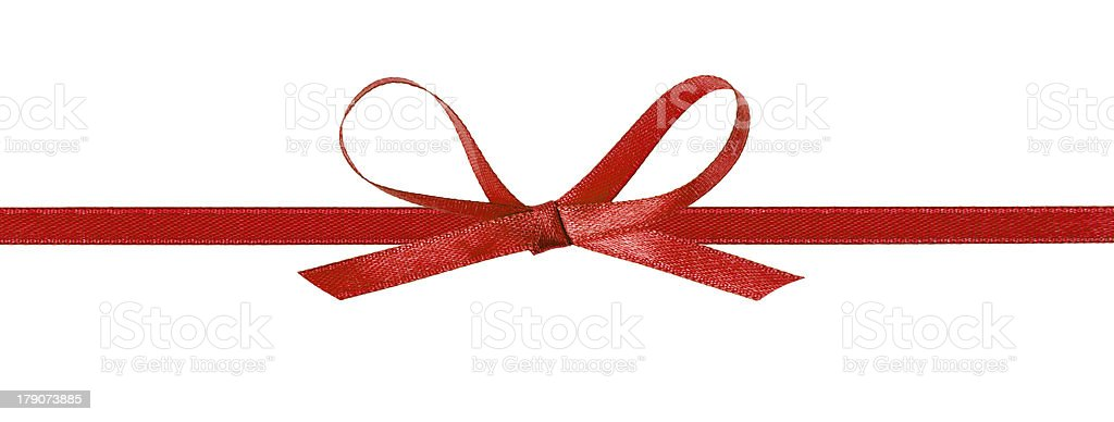 thin red bow with horizontal ribbon stock photo