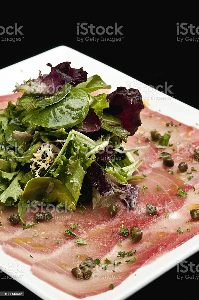 Thin sliced Tuna carpaccio royalty-free stock photo