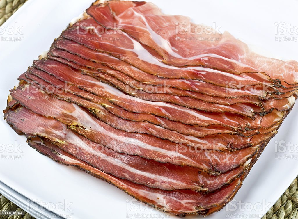 thin slices of cured ham royalty-free stock photo