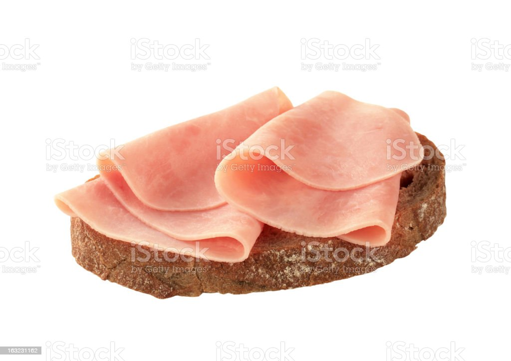 Thin slices of ham on brown bread royalty-free stock photo