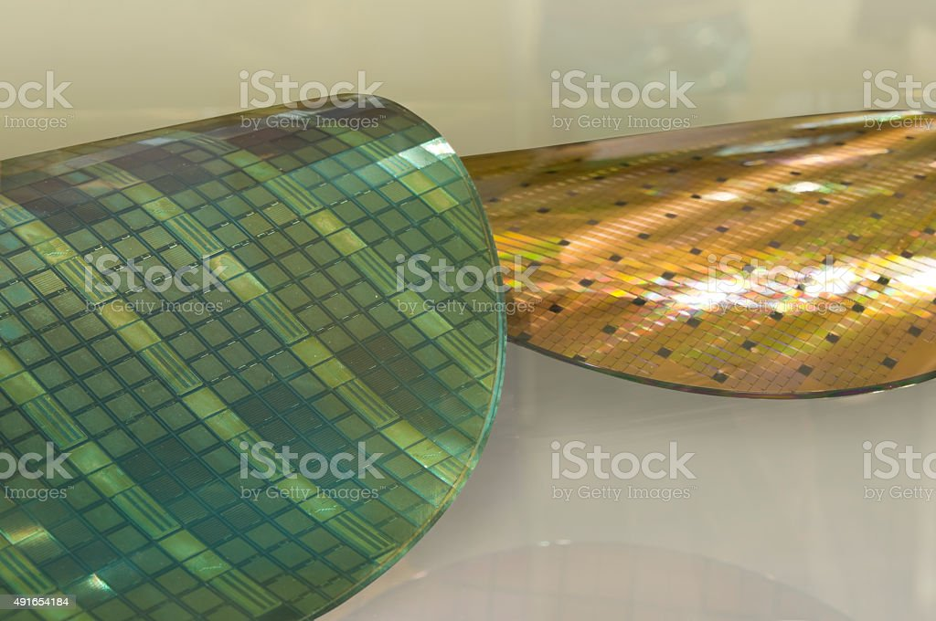 Thin Wafers - High tech in the Microelectronics stock photo