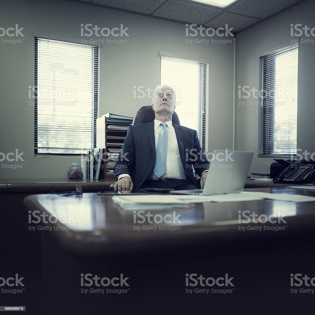 Things are going bad in the office stock photo
