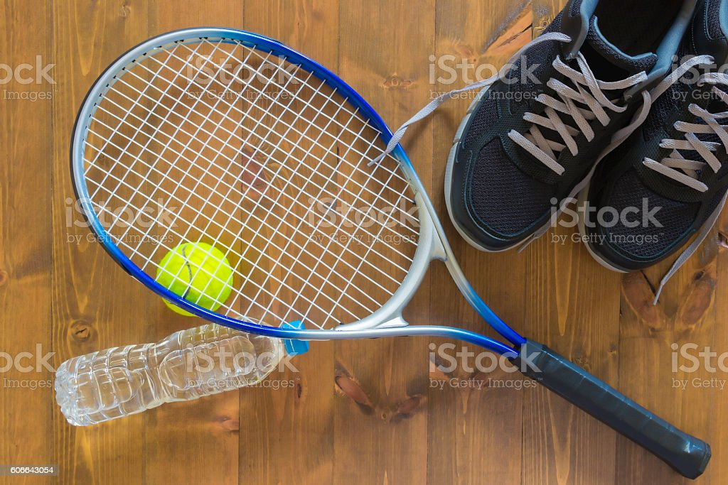 things for the game of tennis on the floor stock photo
