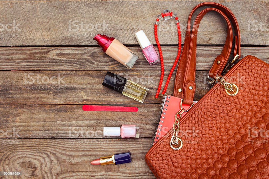 Things from open lady handbag stock photo