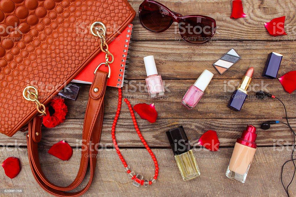 Things from open lady handbag. women's purse stock photo