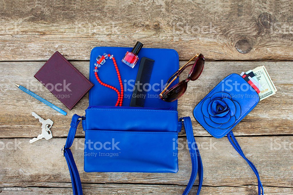 Things from open lady purse. stock photo