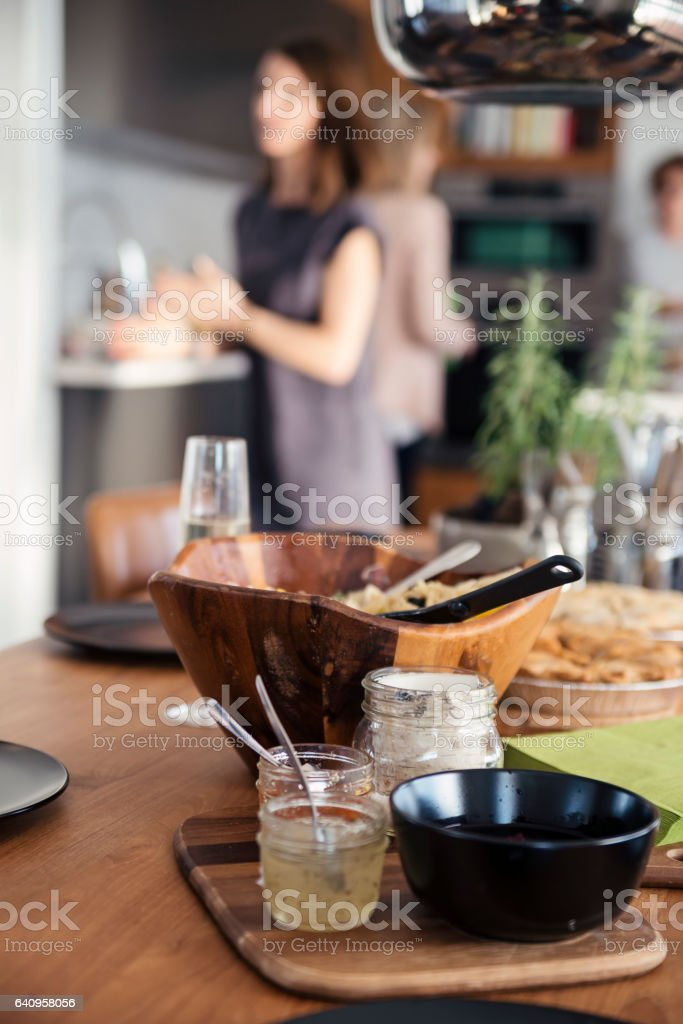 Things on a table before a big family dinner. stock photo