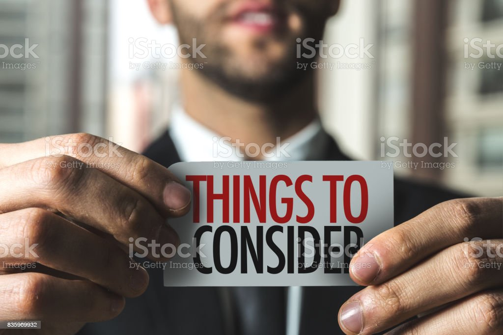 Things To Consider stock photo