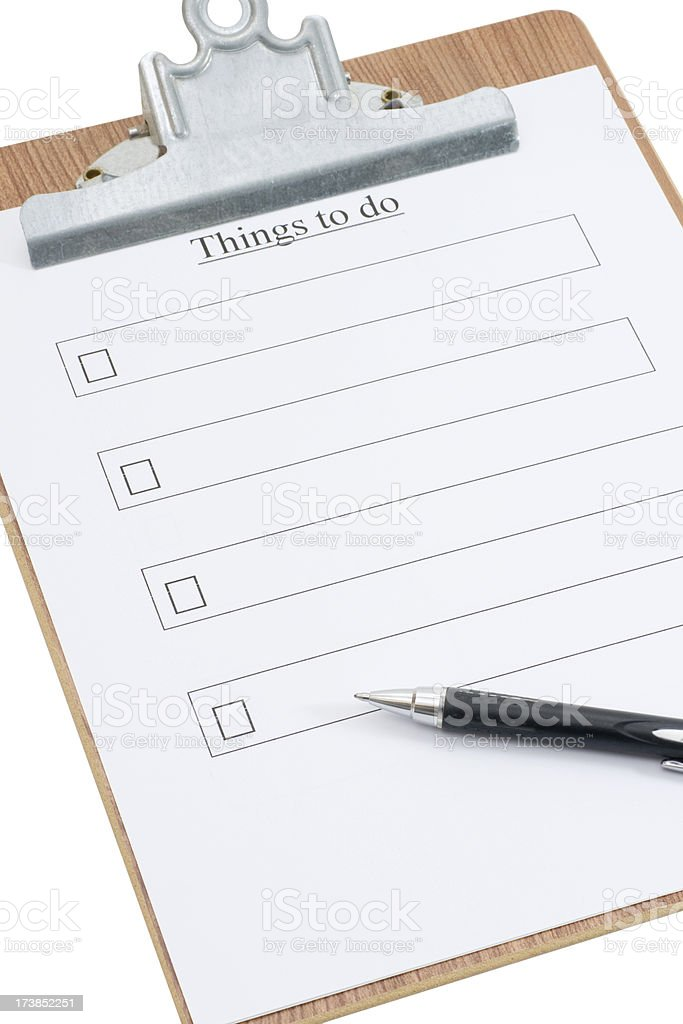 things to do list with clipboard royalty-free stock photo
