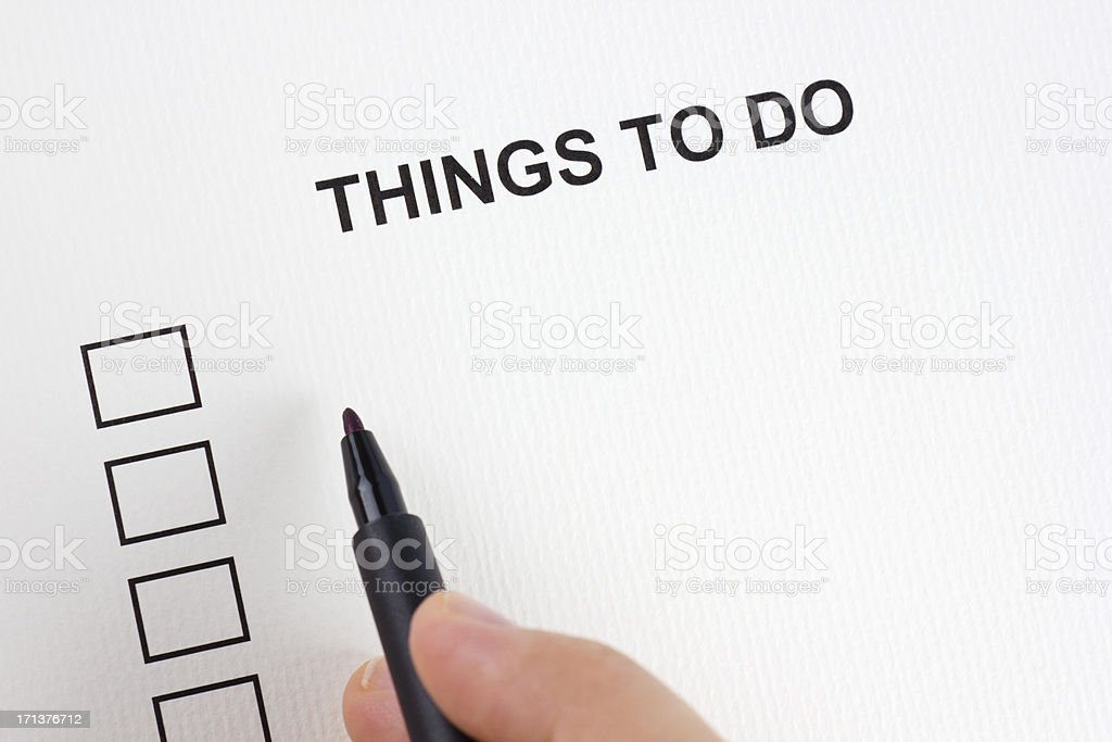Things to do royalty-free stock photo
