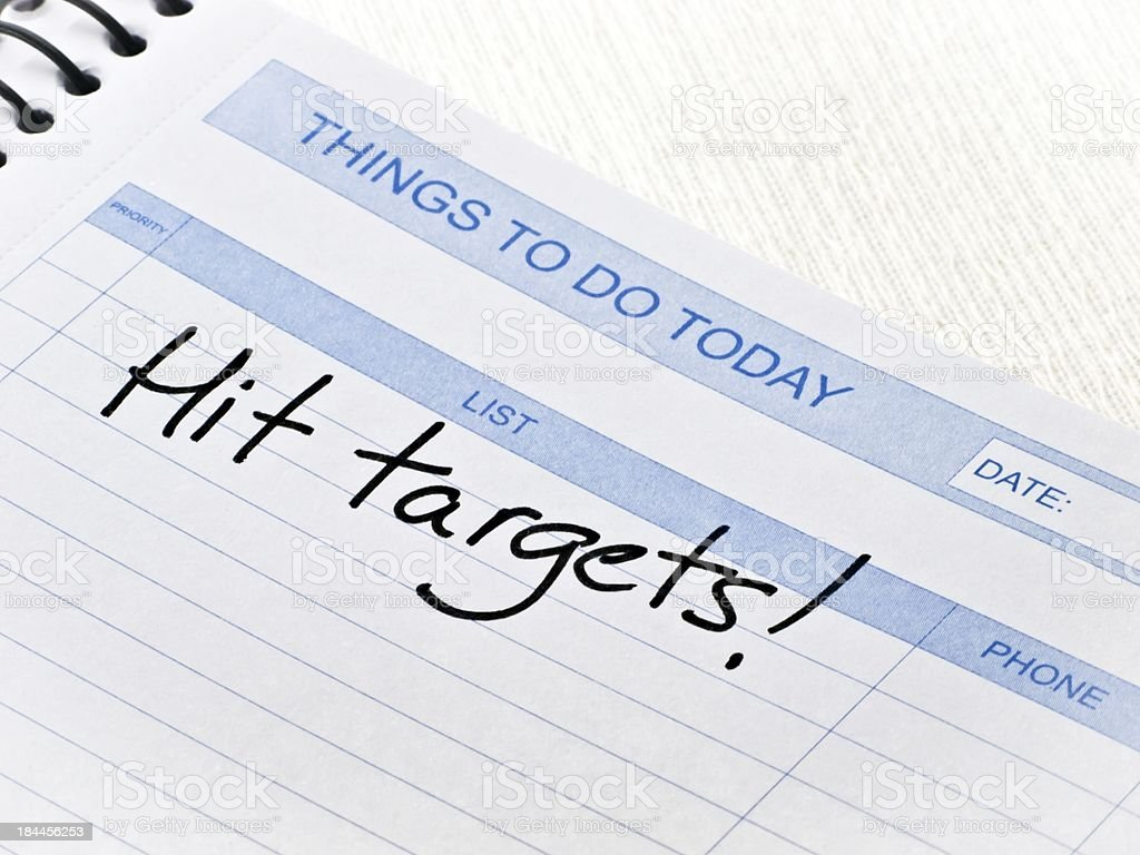 Things To Do Today Message-Hit targets royalty-free stock photo