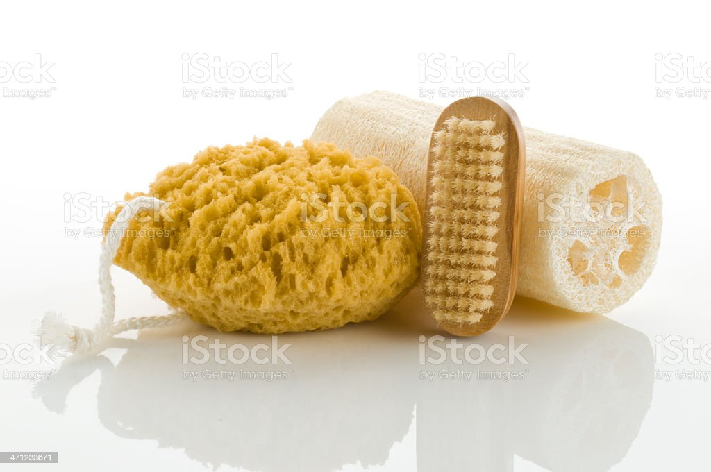 Things used for scrubbing during bath royalty-free stock photo