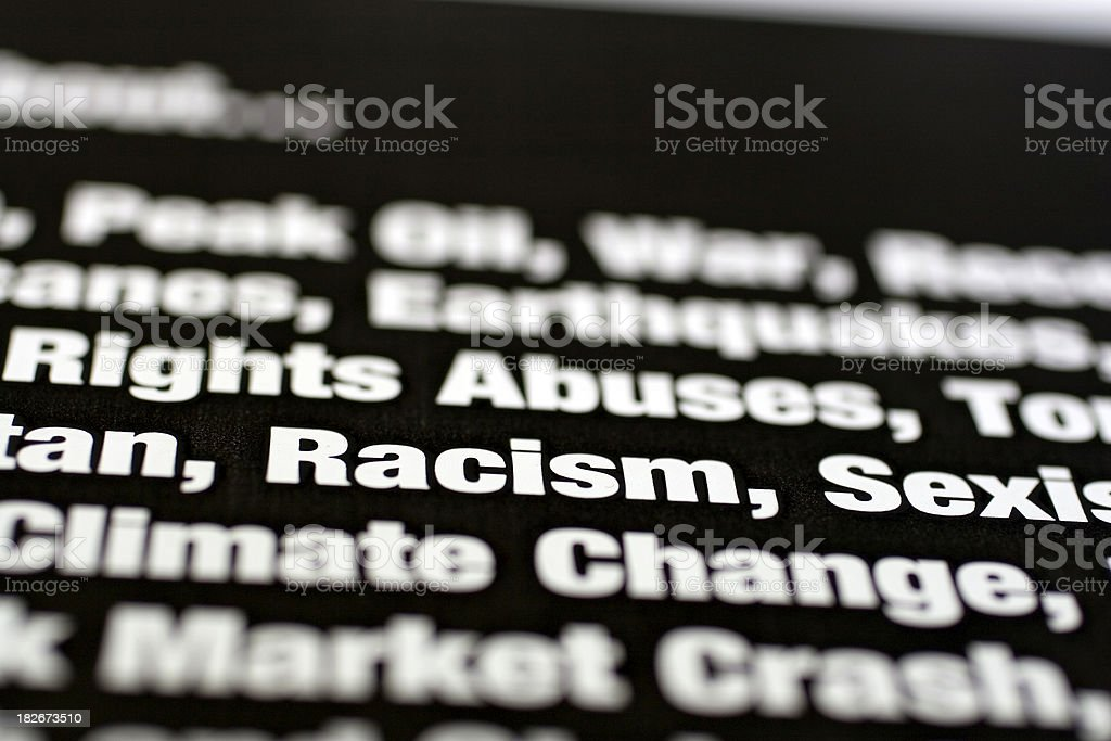Things We Worry About: Racism royalty-free stock photo