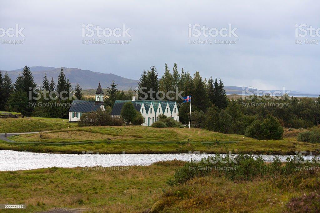 Thingvallakirkja, one of the many Icelandic churches. stock photo