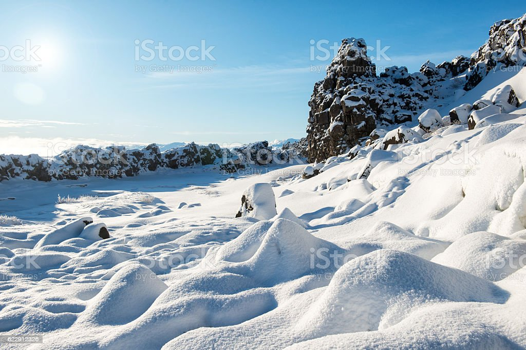Thingvellir National Park in winter, crack between continental plates, Iceland stock photo