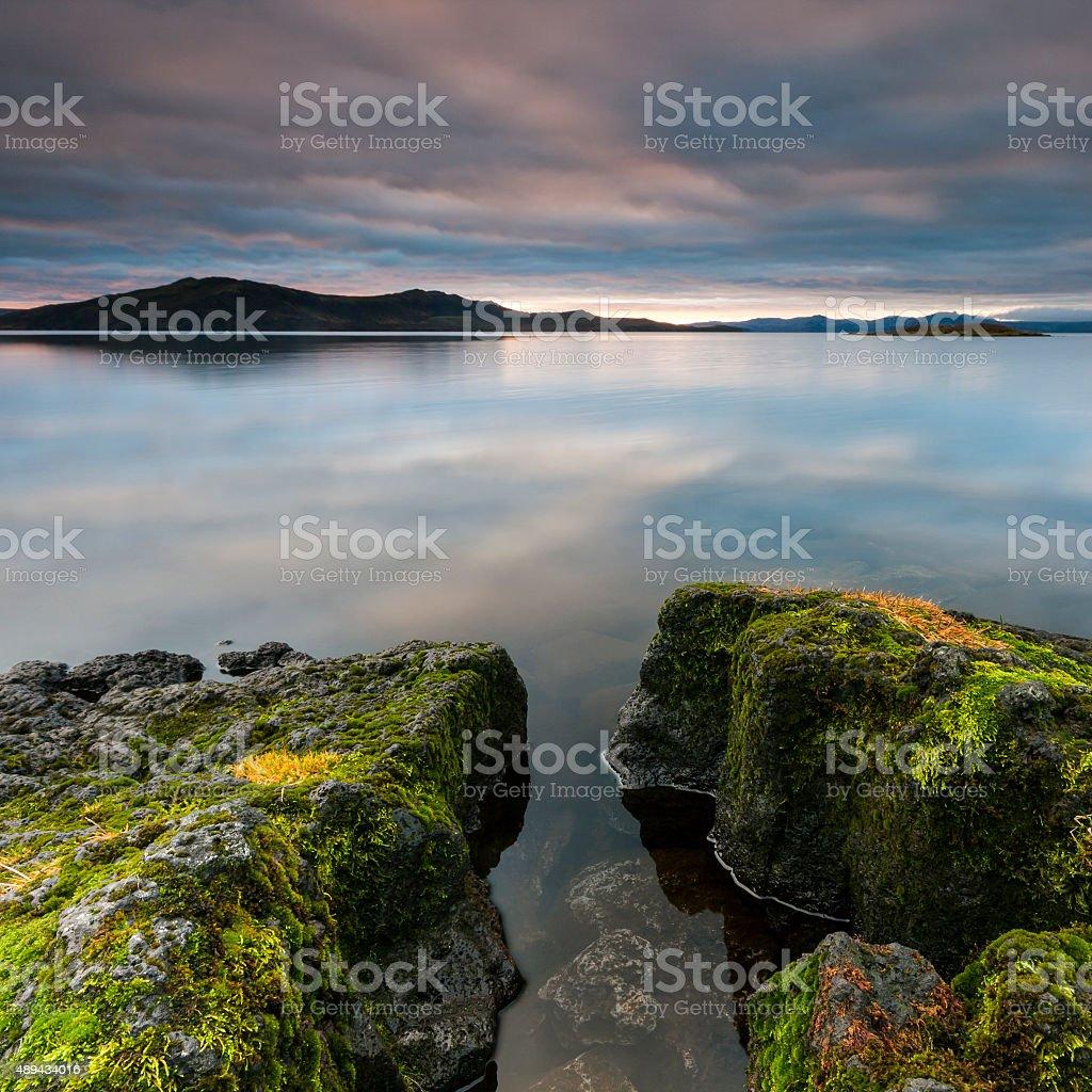 Thingvellir national park lake reflections in Iceland landscape stock photo