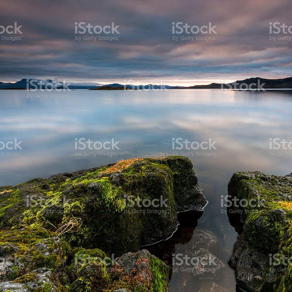 Thingvellir national park lake reflections in Iceland stock photo