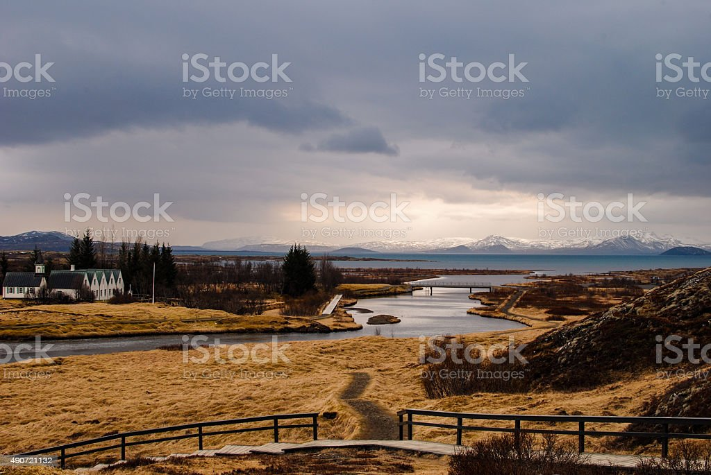 Thingvellir national park river with mountains in background royalty-free stock photo