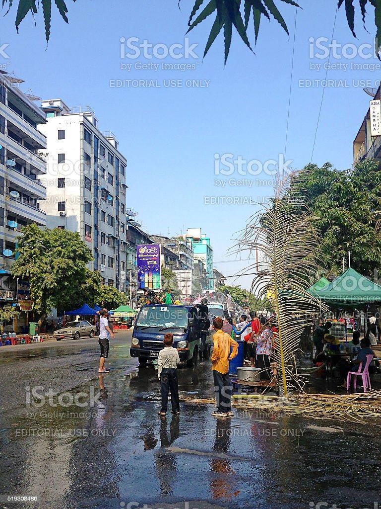 Thingyan Water Festival in Yangon stock photo